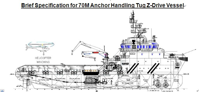 Brief Specification for 70M Anchor Handling Tug Z-